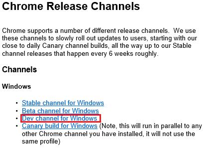 Загружаем Chrome Metro с сайта Chromium Projects