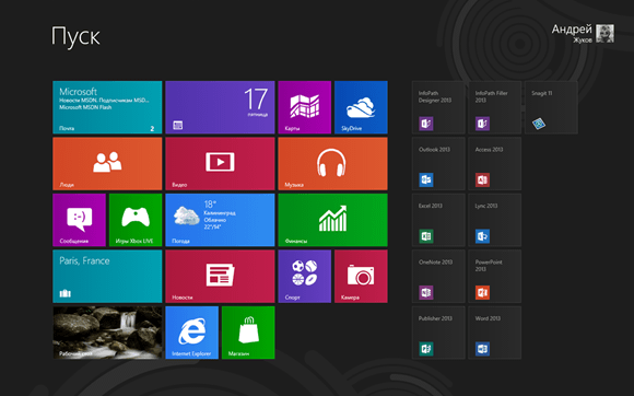 Главное меню в Windows 8 в стиле Metro