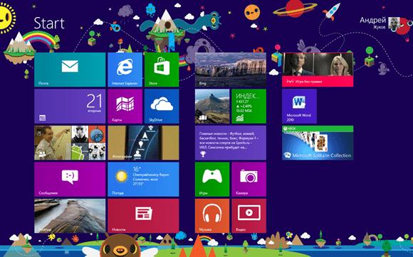 Новое оформление начального экрана в Windows 8
