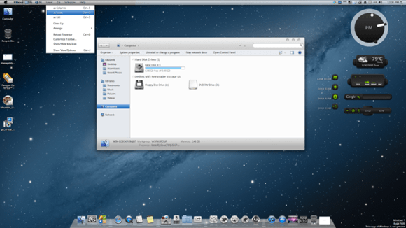 Windows 7 с установленным пакетом Mountain Lion Skin Pack