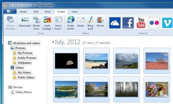 Интерфейс приложения Windows Photo Gallery