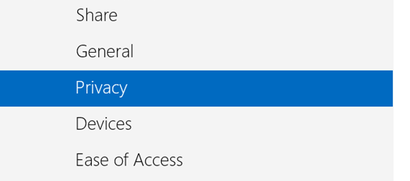 Privacy Tab in New Control Panel in Windows 8