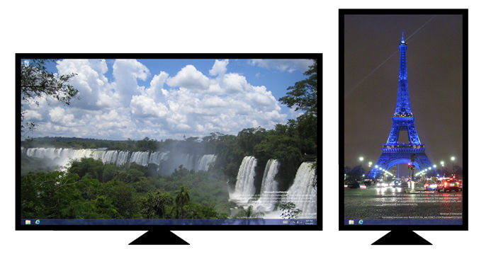 Dual screen set up (One is landscape, the other is portrait)