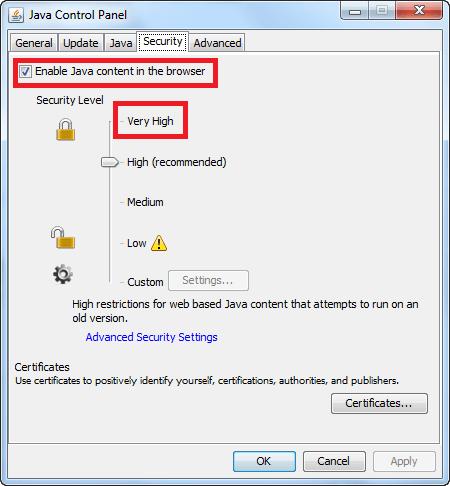 Disable Java on Windows