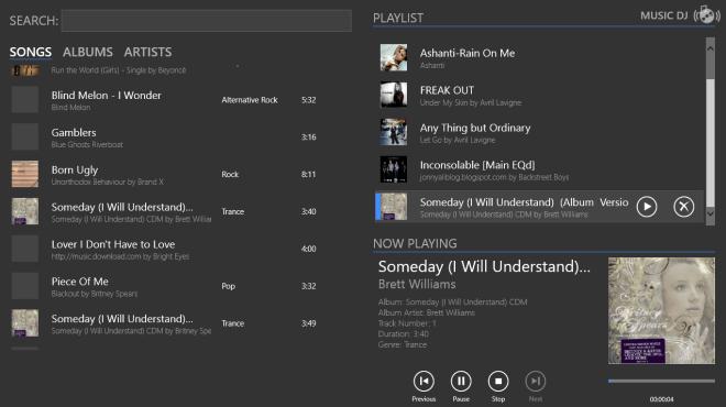 Music DJ Windows 8 Воспроизведение