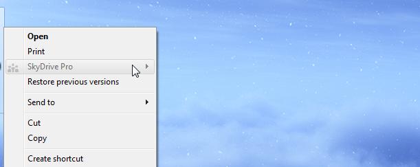 Как удалить опцию SkyDrive Pro из контекстного меню Windows
