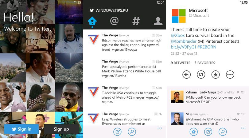 Новая версия Twitter Windows Phone 7 и 8