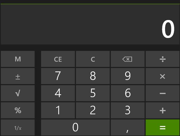 """Приложение """"Калькулятор"""" в Windows Blue"""