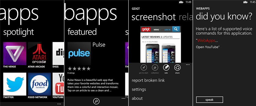 WebApps для Windows Phone 8