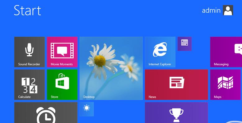 Начальный экран из Windows Blue