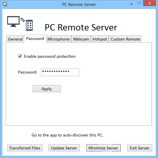 PC Remote Server Set Password