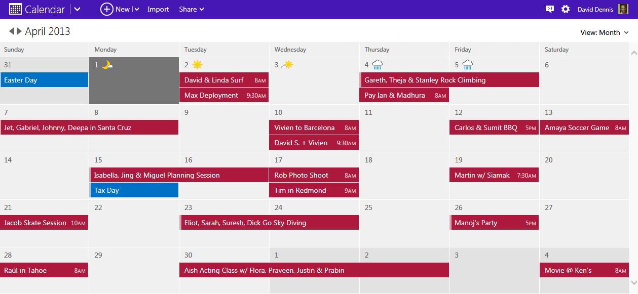 Новый дизайн календаря на Outlook.com