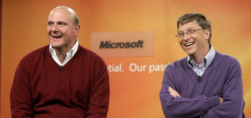 Microsoft Chairman Bill Gates (R) and company' CEO Steve Ballmer take a reporter's question during a news conference at company headquarters in Redmond, Washington June 15, 2006. Microsoft announced that effective July 2008 Gates will transition out of a day-to-day role in the company to spend more time on his global health and education work at the Bill & Melinda Gates Foundation.  After July 2008, Gates will continue to serve as the companyÕs chairman and an advisor on key development projects.  Robert Sorbo/Microsoft/Handout