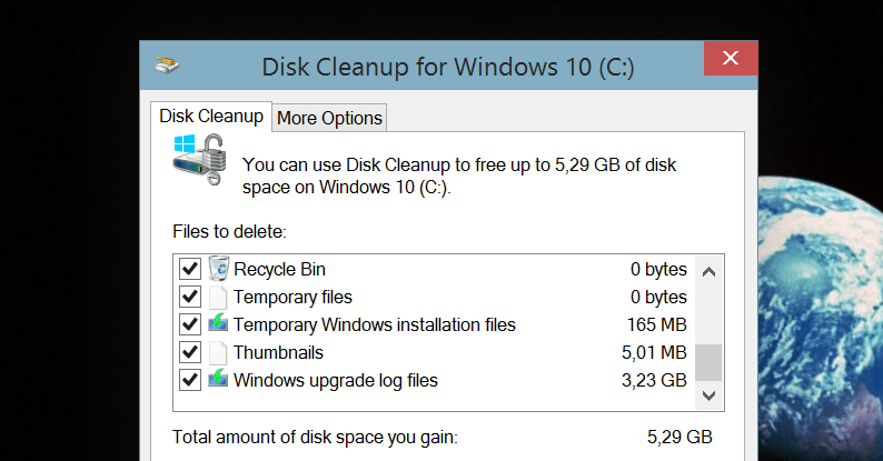 how to find disk cleanup windows 10