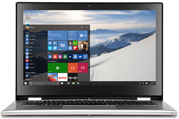 Laptop device with Windows 10