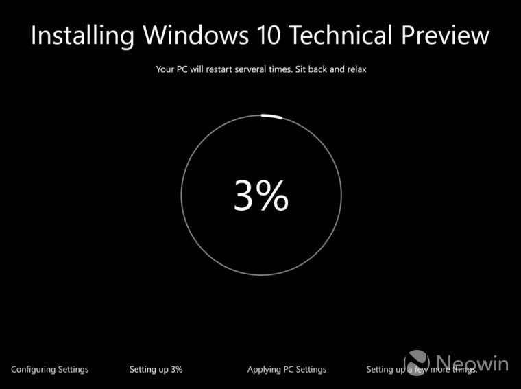 Windows 10 The installation interface has been updated