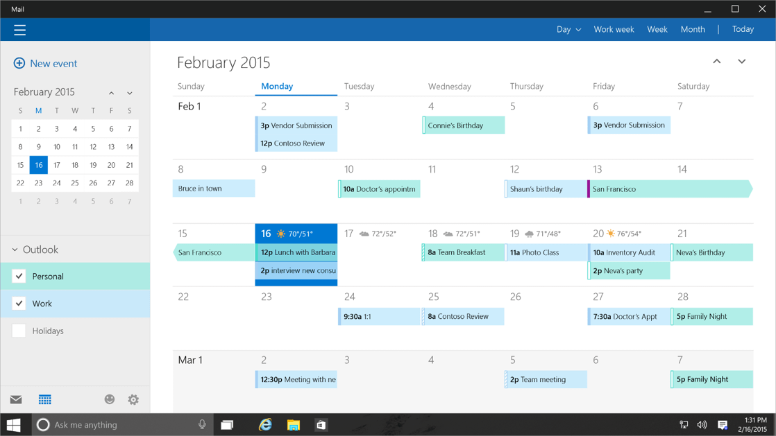 Calendar Windows10