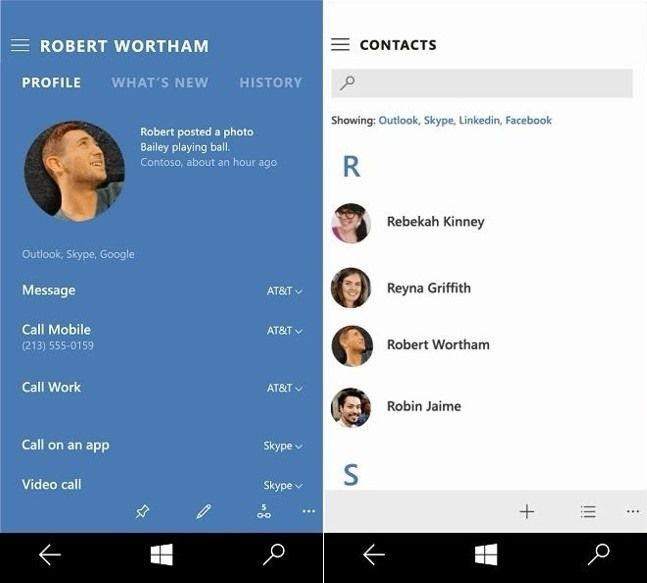 Contacts Windows10 Mobile