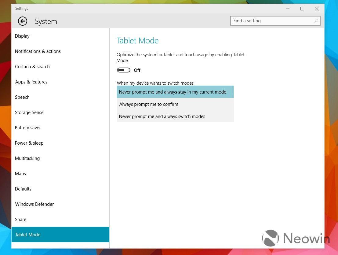 streamlines switching between desktop and tablet mode