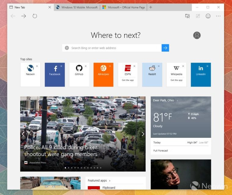 Microsoft Edge in Windows 10 Build 10120