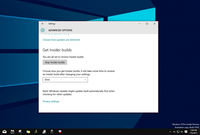 Windows 10 Build 10162 Slow ring