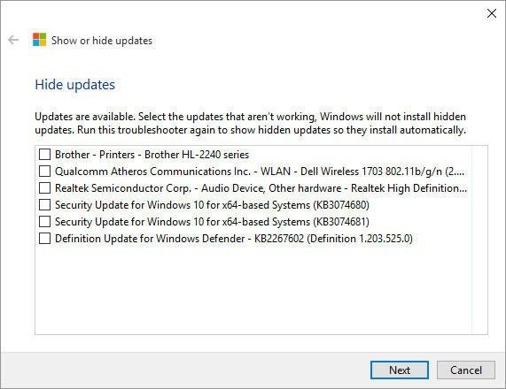 Windows 10 Hide Updates Tool