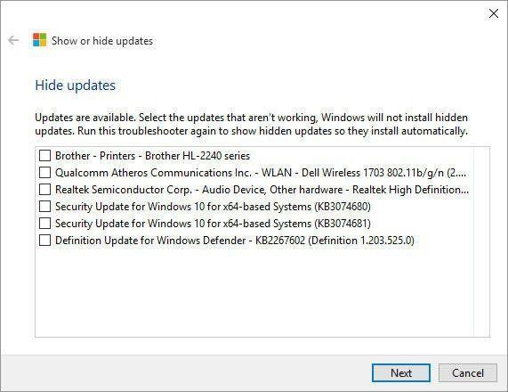 Windows 10 Hide Updates Tool
