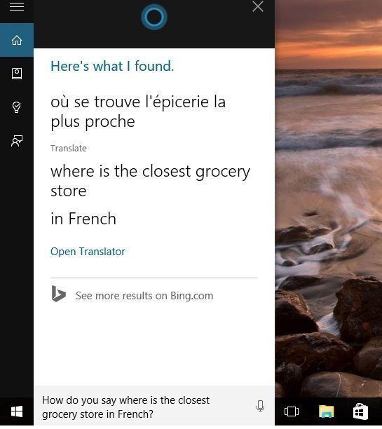 Cortana Instant Answers Microsoft Translator