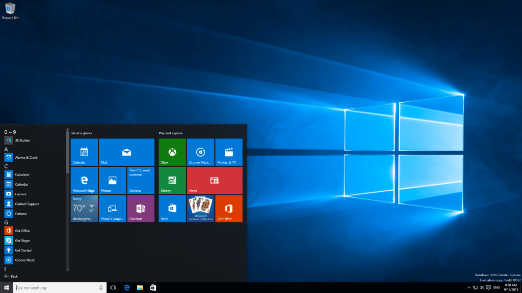 Windows 10 Insider Preview Build 10537
