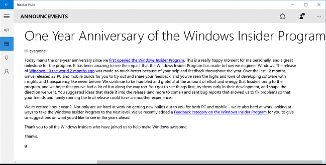 Windows Insider One Year Anniversary