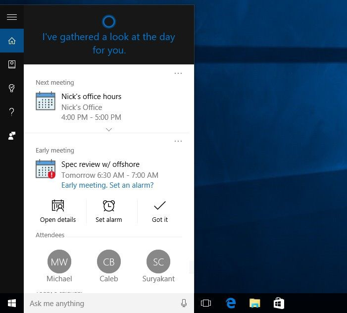 Cortana Notification