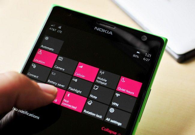 Быстрые действия в Windows 10 Mobile