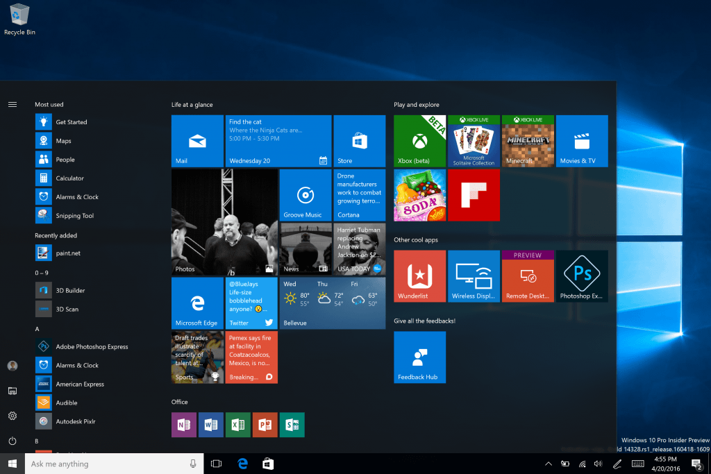 Updated Start Windows 10