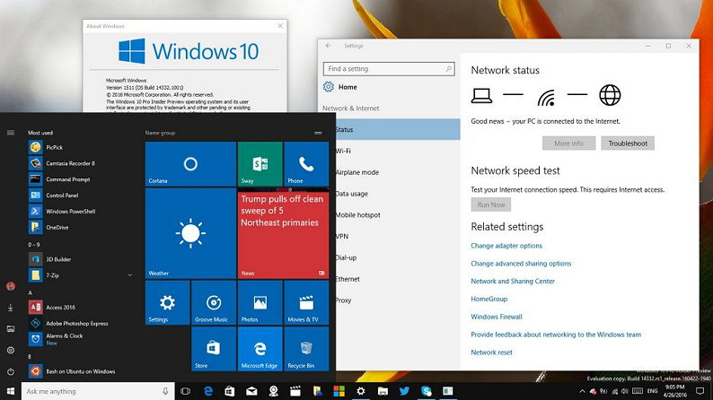 Windows 10 build 14332 for PC and Mobile