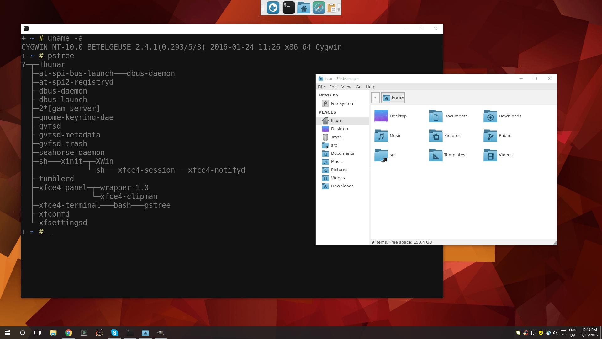 xfce running in Windows10