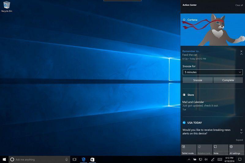 Action Center Windows 10 AU Flyout