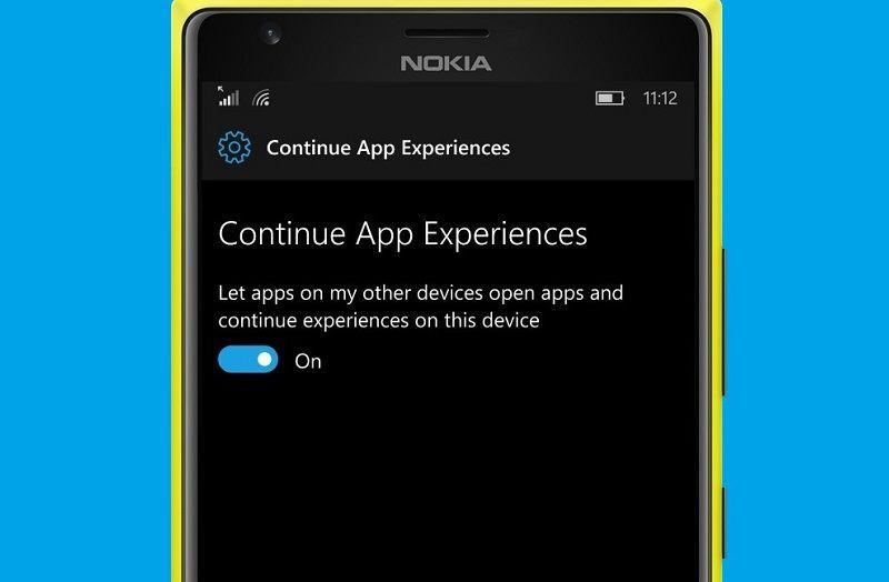 В последних внутренних сборках Windows 10 Mobile появилась функция Continue App Experiences