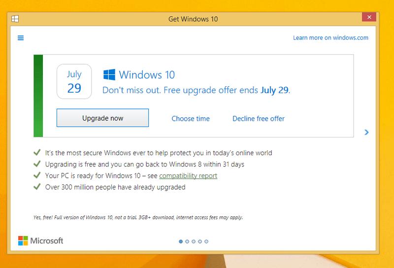 Microsoft решила изменить окно «Получить Windows 10» за месяц до конца бесплатного обновления