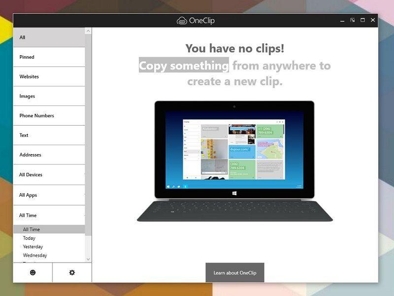 Приложение OneClip может быть интегрировано в Windows 10 Redstone 2