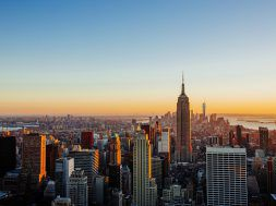 Aerial view of Manhattan skyline at sunset, New York City, USA