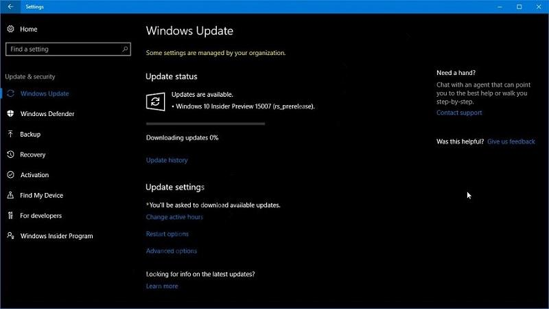 Решение: обновление до Windows 10 Build 15007 стоит на 0%